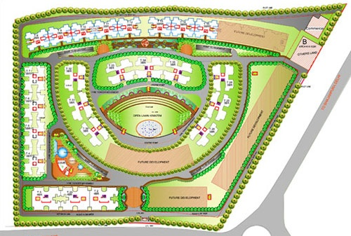 """Gulmohar Greens - Site Plan. """"GULMOHUR GREENS"""" is our largest, most prestigious & luxurious residential project, which is unique in its strategic location with green surroundings on the corridor of Delhi. The project has been designed by architects of international repute and is equipped with state of art technology, ultra modern amenities, facilities and features. The project would have around 1200 residential units, which include flats, villa apartments & 3-tier pent houses with terrace…"""