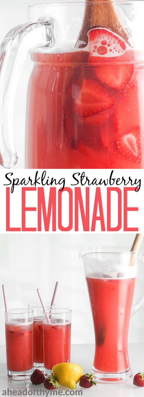 Complete your summer party, barbecue or picnic with a sweet, refreshing pitcher of sparkling strawberry lemonade, made with real fruit! | aheadofthyme.com via @aheadofthyme