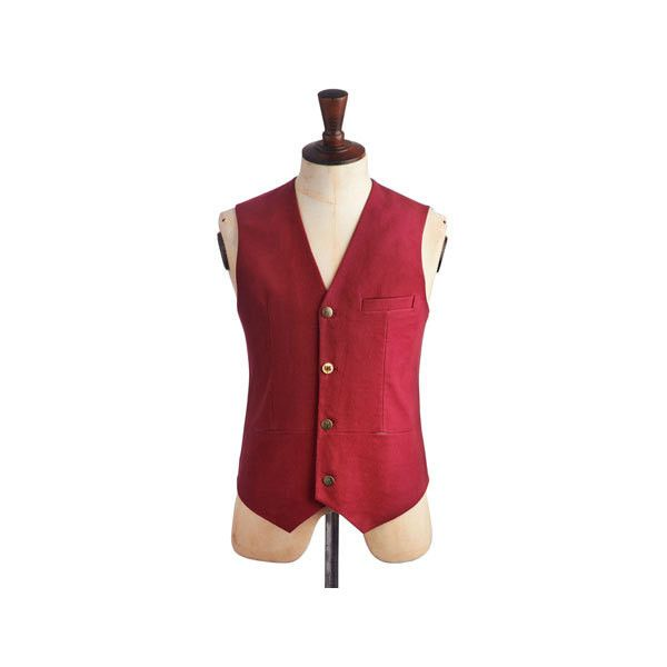 Dark Red Humphrey Mens Waistcoat | Joules UK ($43) ❤ liked on Polyvore featuring men's fashion, men's clothing, men's outerwear, men's vests, mens button sweater vest, mens vest, mens outerwear and mens waistcoat