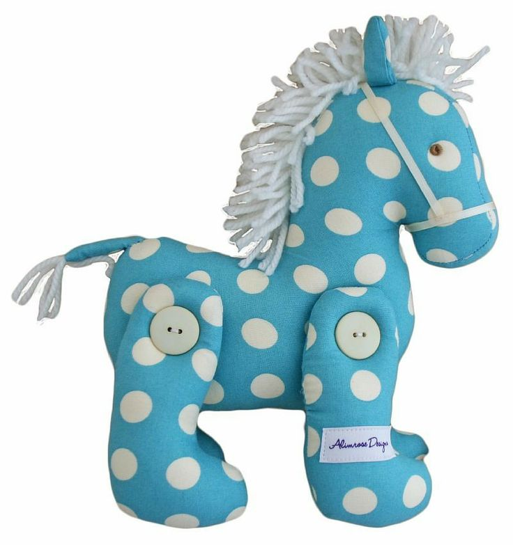 Alimrose Jointed Toy Pony - Aqua Polka Print - $34.95 This Jointed Toy Pony from Alimrose Designs is a beautiful decorative toy for any little girls or boys nursery with gorgeous fabric and a fluffy mane. Measures aprx 22cm tall & 18cm long