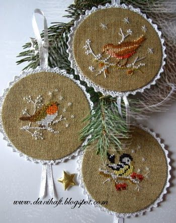 Inspiration for finishing.mom's xstitch ornaments for hanging on the tree.