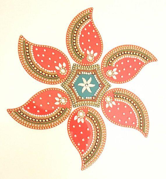 Acrylic Rangoli Mango design by KundanArt on Etsy