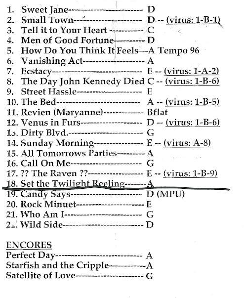 Setlist del concierto de LOU REED en Barcelona en Julio de 2003