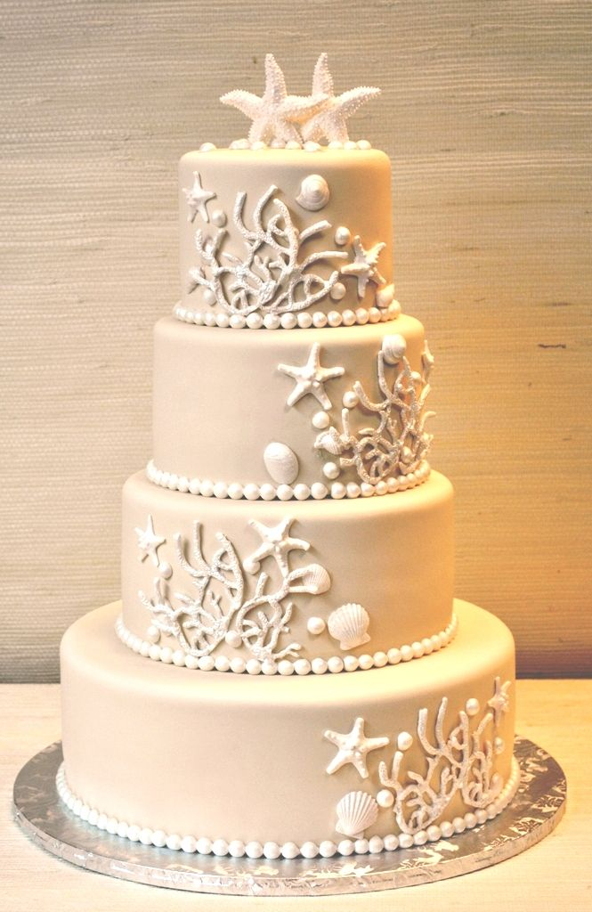 Ivory and White - Beach Wedding Cake- The Cake Zone