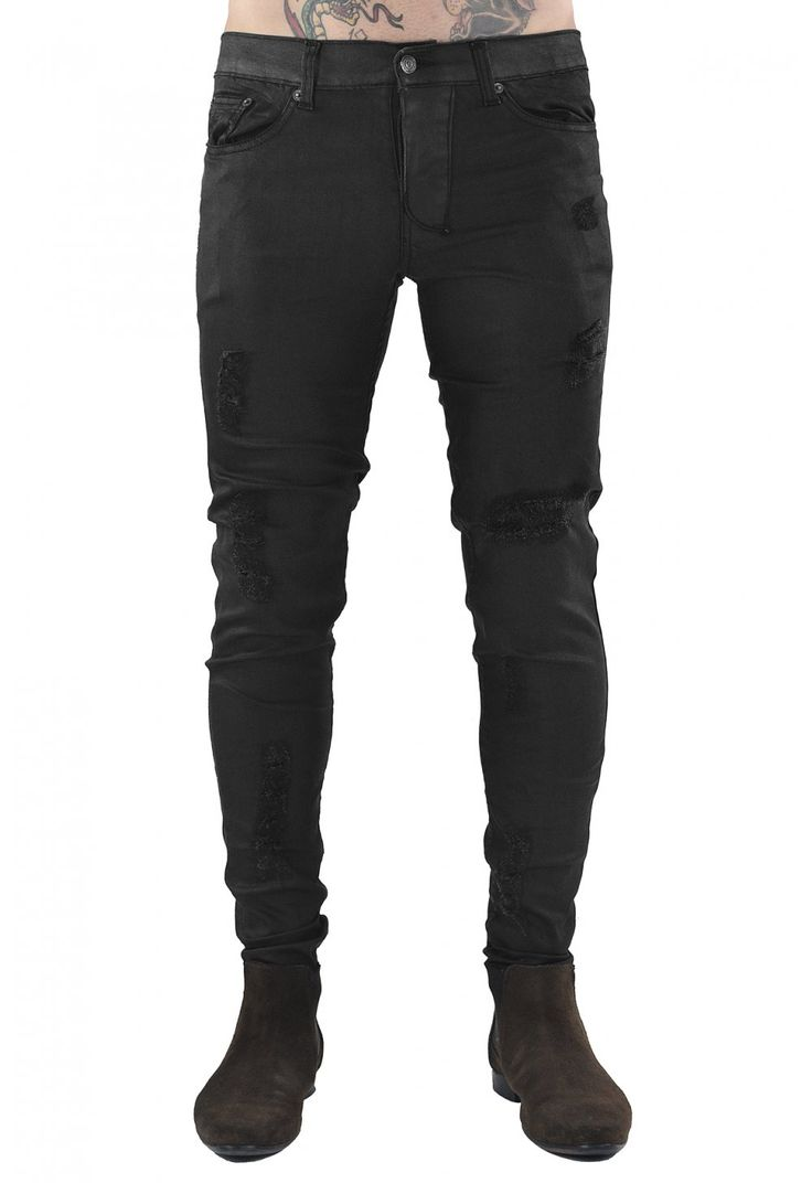 Distressed Jeans / Waxed Black