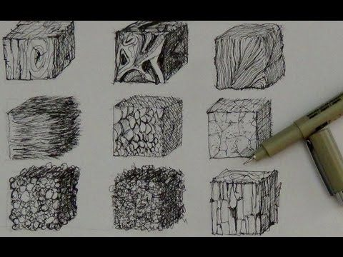 Pen and Ink Drawing Tutorials | How to create realistic textures - YouTube