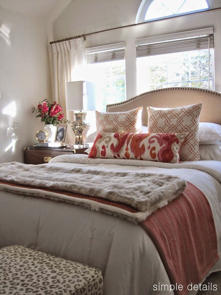 Peaceful color scheme.  Try using different colored pillows & throws with the white.