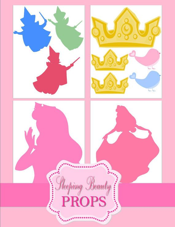 Sleeping Beauty Party GRAPHICS - Disney Princess Party - Cut Outs - Aurora Party - Sleeping Beauty Printables -Photo Props- INSTANT Download...