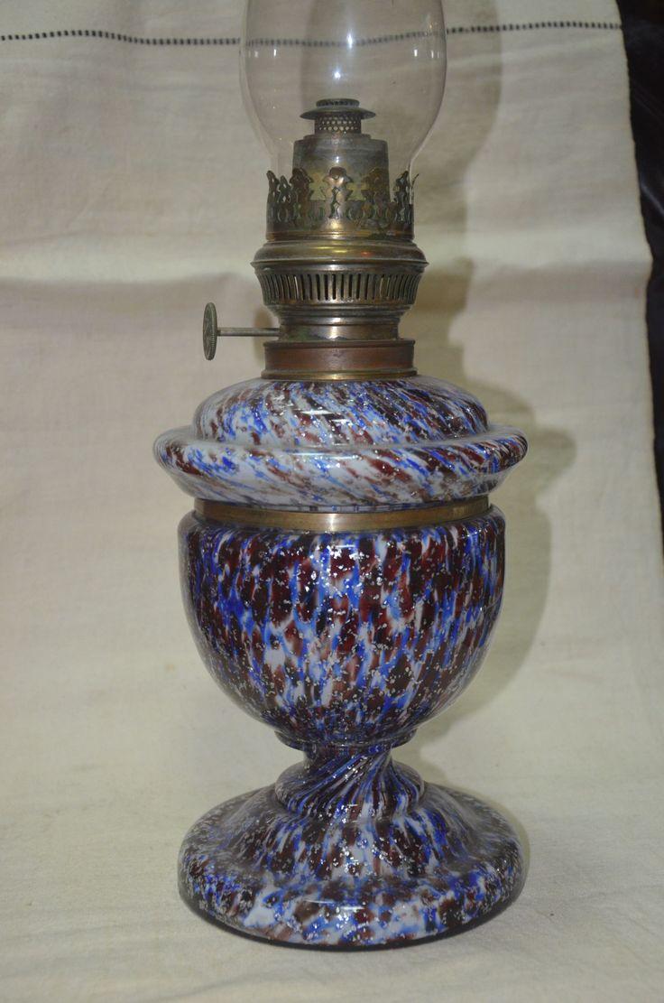 Старинная керосиновая лампа. Цветное стекло. Серебро.