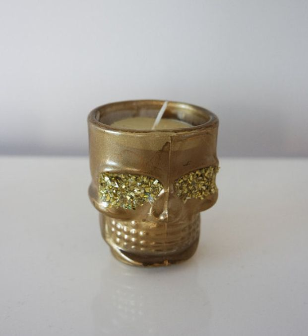 Gold and glitter skull tea light. Candle holder. Glitter Eyes