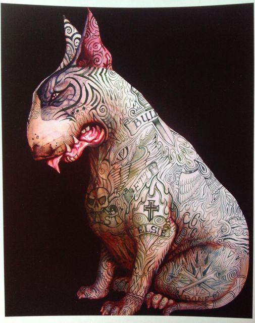 Tattoo English Bull Terrier Signed Print Minibull Art ...