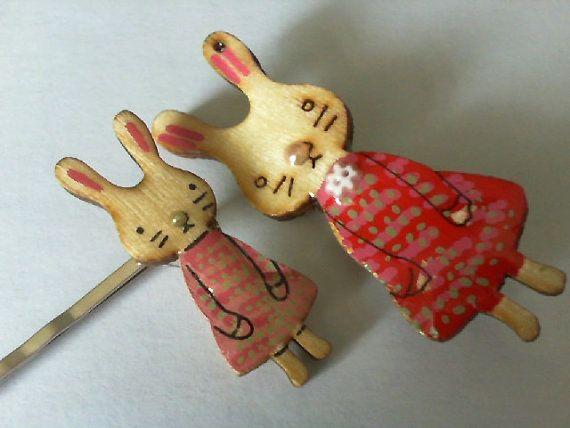 Wooden Rabbit and Girl with Flower Clip by CreativeHolmez on Etsy