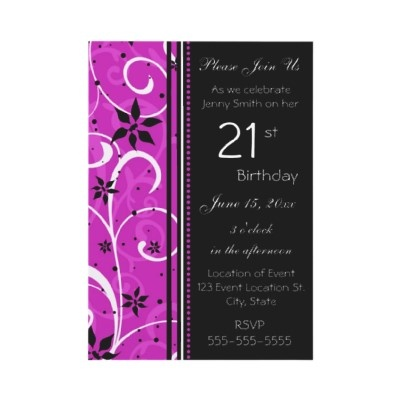 Pink Black 21st Birthday Party Invitation Card Custom Invitations
