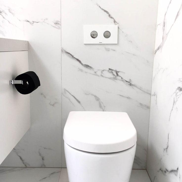 Three Birds House 5 Main Bathroom featuring the Caroma Wall Faced Invisi Series II toilet suite #bathroominspo #bathroomreno #marble #tiles #design #styling #monochrome   https://www.caroma.com.au/bathrooms/toilet-suites/urbane/urbane-wall-faced-invisi-series-ii-toilet-suite