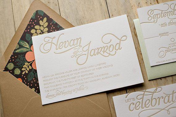Rustic Calligraphy Letterpress Invitation Suite   by JustInviteMe, $12.50