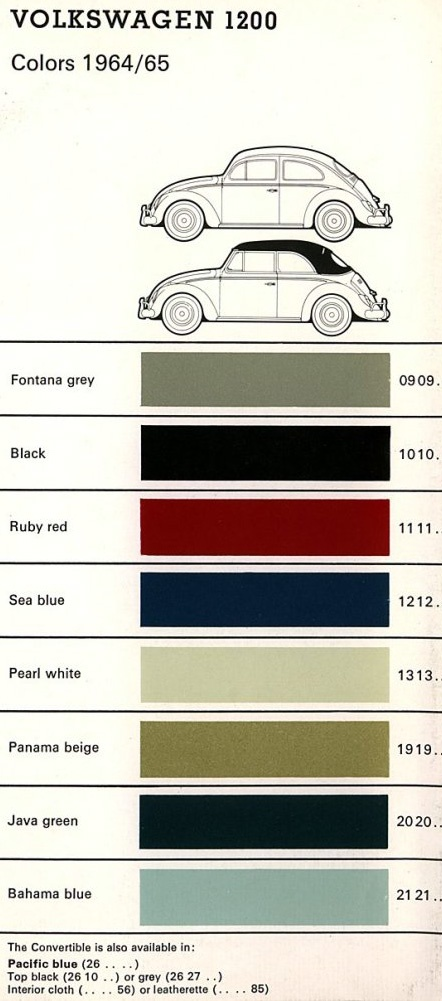 VOLKSWAGEN 1200 - 1964-65 Volkswagen Colors - 1964-65 VW Bug and Ghia Colors