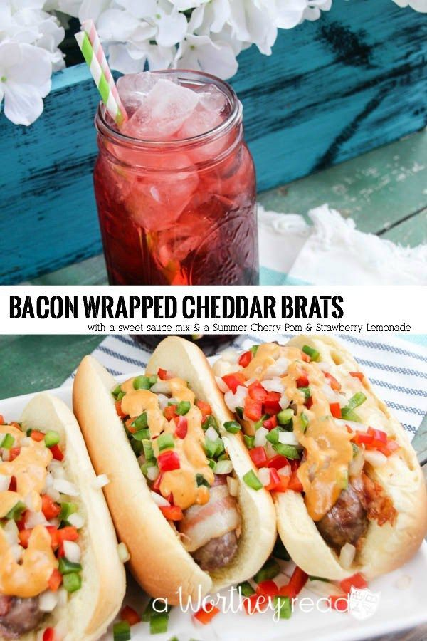 ... Bacon Wrapped Cheddar Brats with sweet tomato sauce. #SausageFamily AD