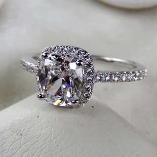 carat ring halo... 1 Carat Cushion Cut Halo Engagement Ring