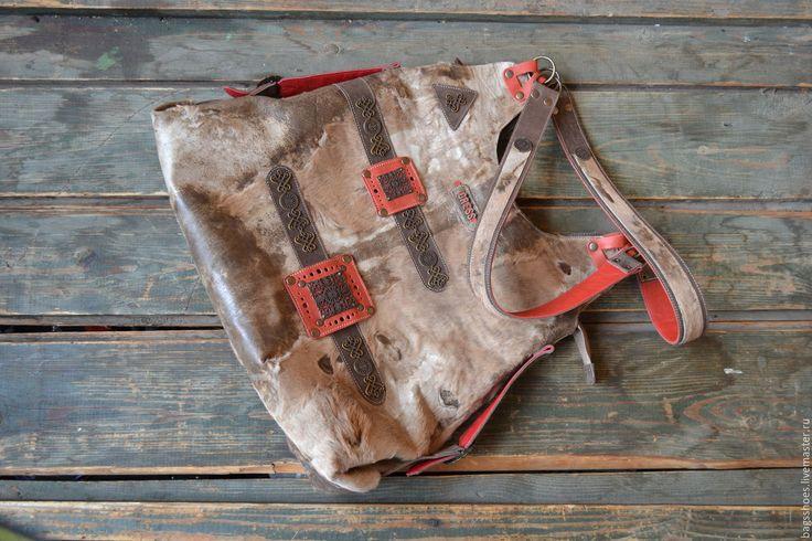 """Купить cow-сумка """"Куба """" - коричневый, красный, куба, сумка ручной работы"""