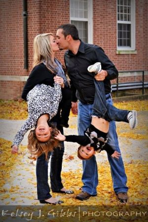 Family pic - hanging kids upside down.  I want to do this one for sure!!