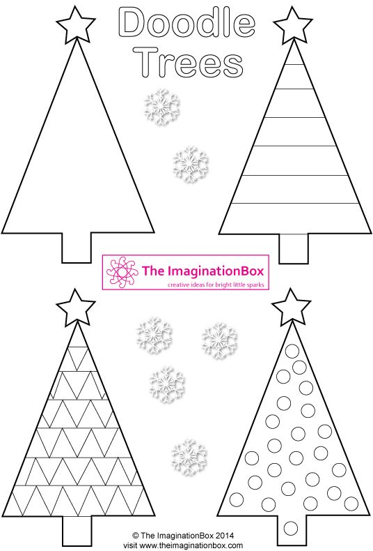 Triangle Christmas 'Doodle Trees', FREE printable to make tags, cards, garlands