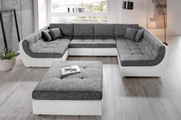 Wohnlandschaft Bethany 360x271 Schwarz Weiss Ottomane Links Möbel - grose couch kleines wohnzimmer