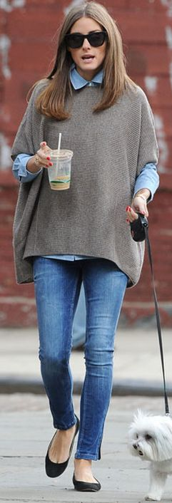 Olivia Palermo walking her pup in a blue button up shirt,Vince short sleeve poncho,skinny jeans and black ballet flats <3