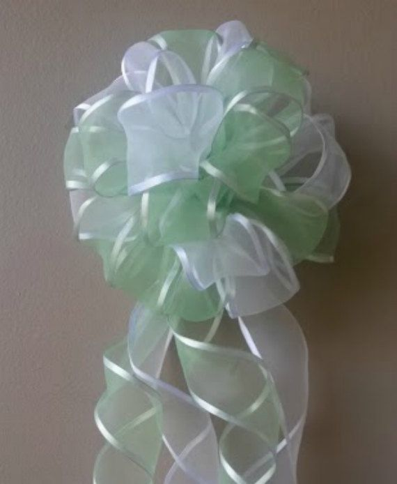 Green and White Bow Wedding Bow by PremierGiftSolutions, $7.00