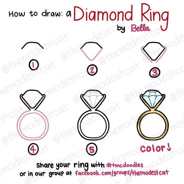 How to Draw a Diamond Ring. Doodle tutorial with Bella at themodestcat.com