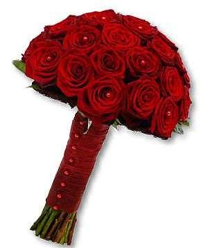 Bridal bouquet - deep red roses, red satin wrap and red pearls