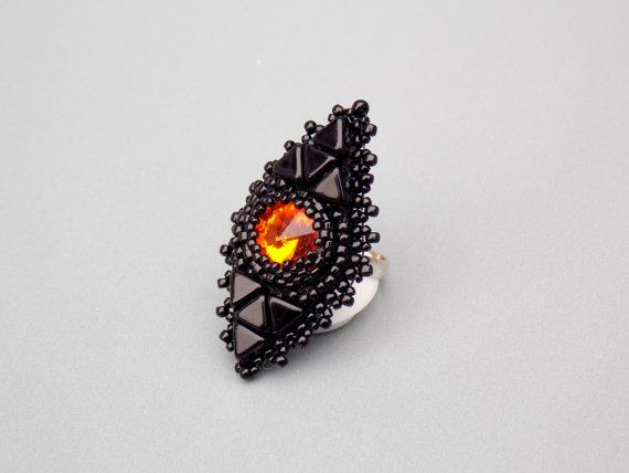 Check out Bead Embroidery,  Ring,  Seed beads jewelry, Fashionable jewelry,  Trending ring, Swarovski,  Black,  Fire on vicus