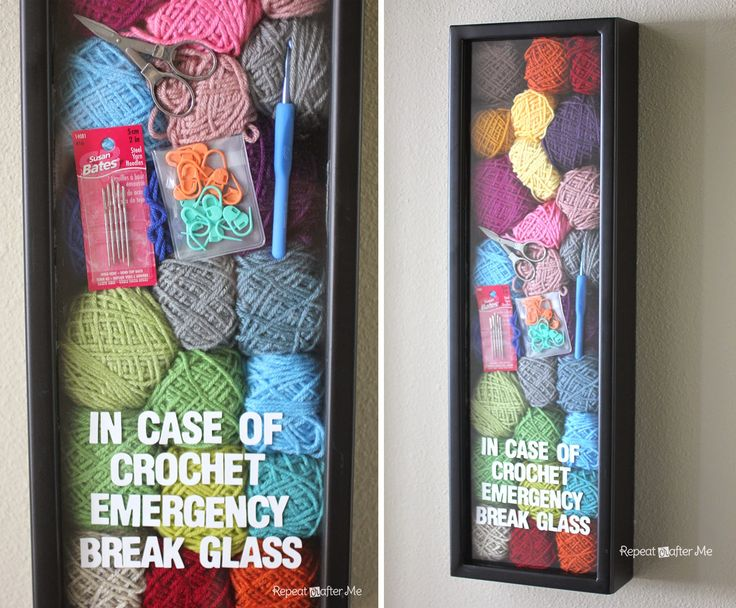 Repeat Crafter Me: Crochet Emergency Brilliant idea but we can't help but worry that there is all of this untouched yarn behind glass that you need to break through!