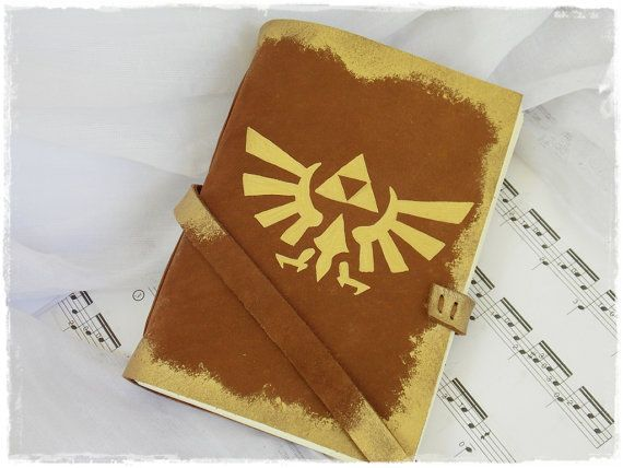 Triforce Leather Sketchbook, Rustic Journal Inspired By The Legend Of Zelda, Horde Brown Blank Notebook - Size: MEDIUM