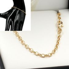 19cm Yellow Gold Oval Belcher Chain Bracelet - GB-BO1