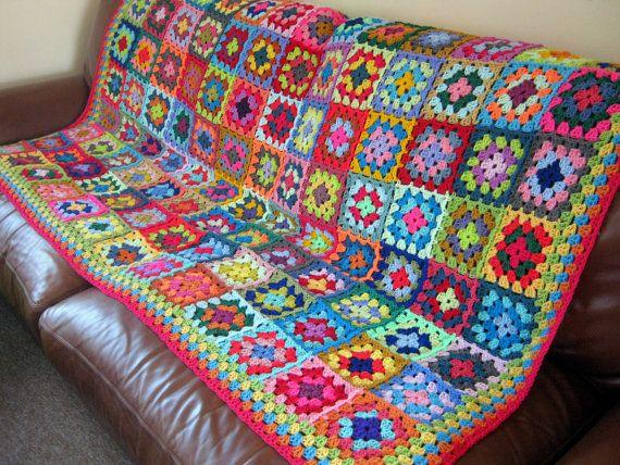 Vibrant BLANKET Granny Squares Crochet Sofa Throw by Thesunroomuk