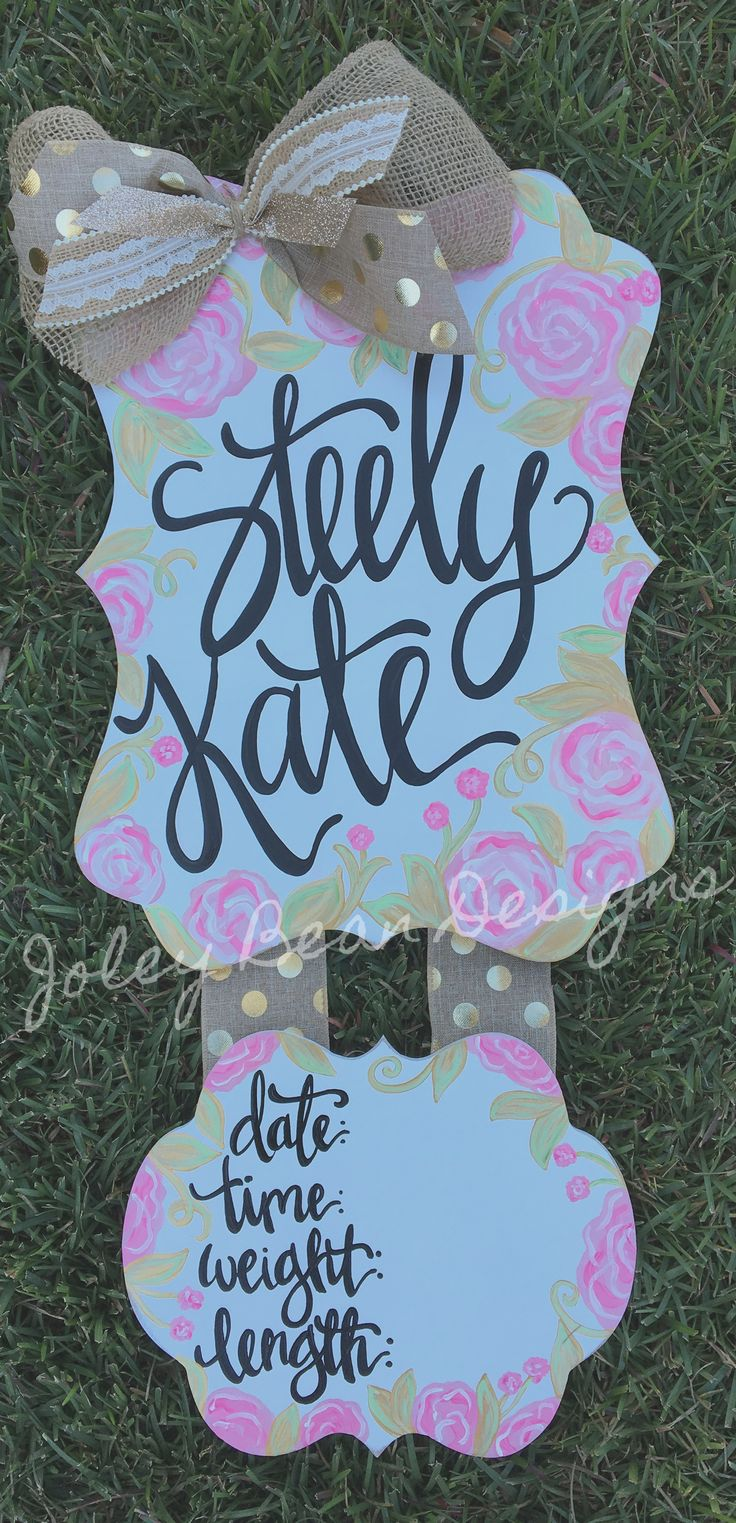 Hospital door hanger, baby girl, roses, flowers, shabby, pink