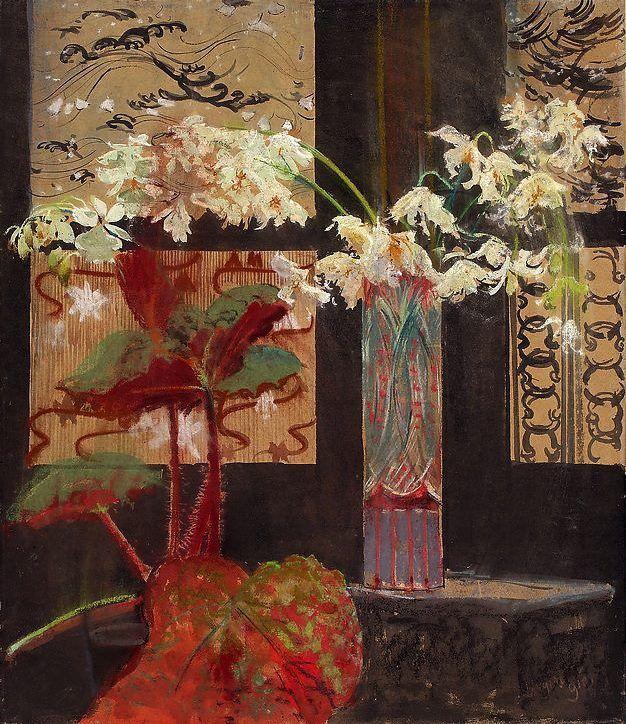 White Orchids and Begônia - Leon Wyczółkowski c. 1910 Polish 1852–1936