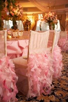 Pink: Pink Wedding, Pink Ruffles, Wedding Receptions, Wedding Trends, Color, Pink Chairs, Wedding Chairs Covers, Parties Ideas, Ruffles Chairs