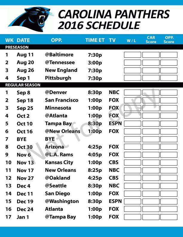 Carolina Panthers #NFL 2016 Schedule #Football Fridge Magnet Large Size - Writable from $3.25