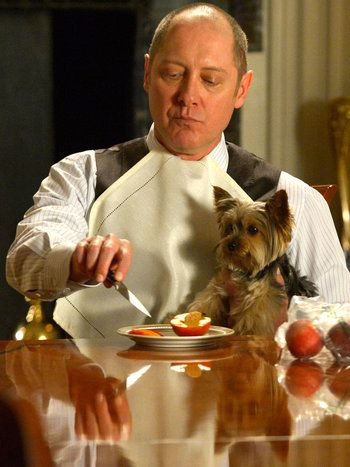 """The Blacklist. This was one of my favorite scenes with Red. """"I would never hurt a dog. What kind of monster do you think I am?"""" *throws knife at man*"""