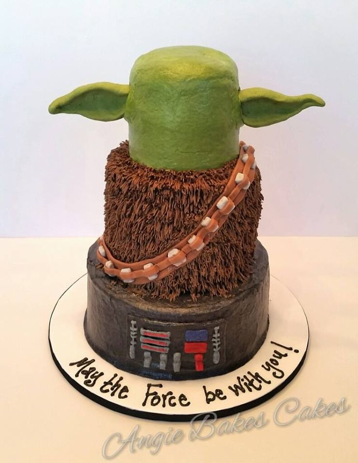 Star Wars cake with Darth Vader, Chewie, and Yoda