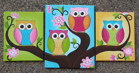 Big set of bright canvas owl paintings by Leilasartcorner on Etsy, $100.00