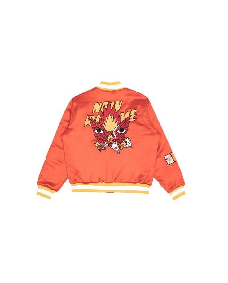Ricardo Cavolo X Atelier New Regime Guardian Eagle Bomber Jacket (Orange) / Made of smooth satin, this medium weight bomber jacket featuresthe Guardian Eagle collab artwork embroidered at the back,depicting the strength, freedom and inspiration that the eagle is known to represent. #ricardocavolo