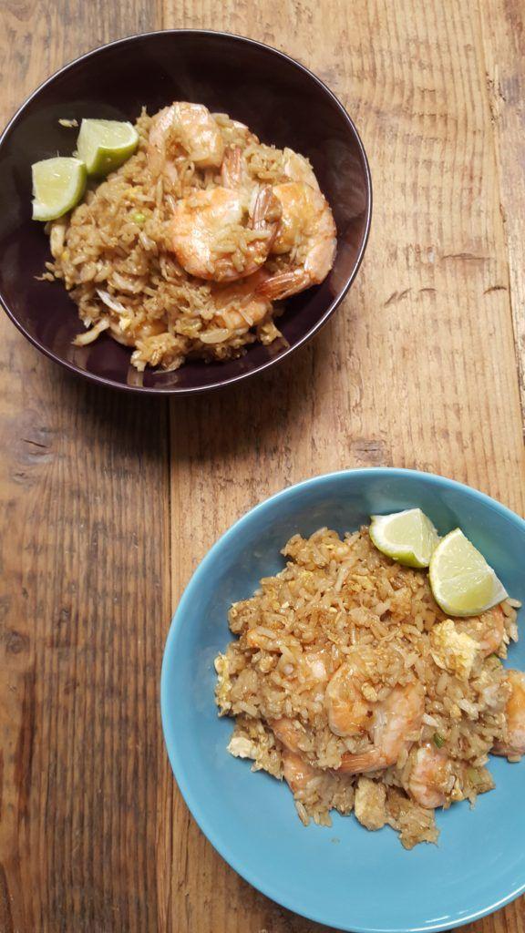 Thaise gebakken rijst met krab en garnalen simpel en snel recept foodblog Foodinista