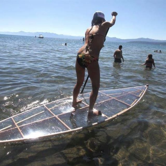 Clear paddle board - genius | SUP/paddleboard wood framed, covered with solid clear plastic material