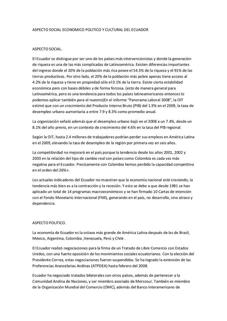 aspecto-social-economico-politico-y-cultural-del-ecuador by Raul Remache via Slideshare