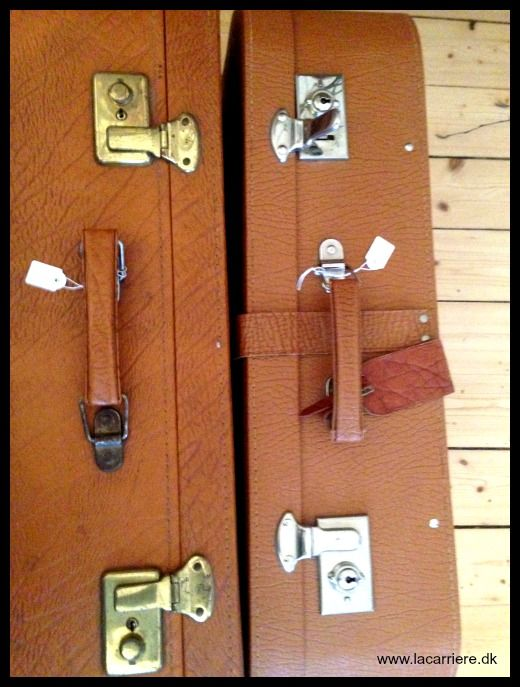 Vintage suitcases, for funky interior design. www.lacarriere.dk