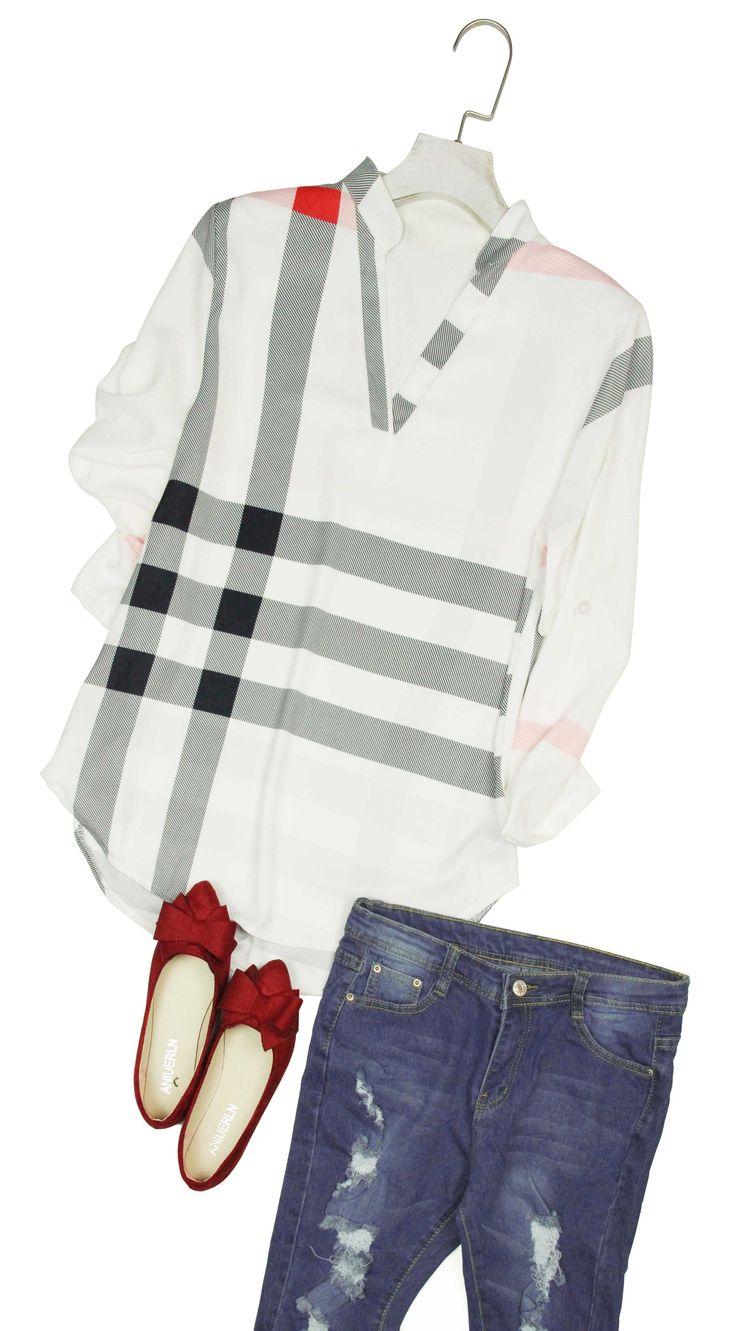 $24.99✨ Black friday! Fashion Black and White Plaid Shirt Cute Work Top