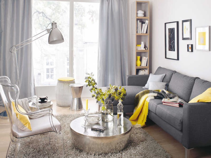 Yellow And Grey Living Room Design Pinterest