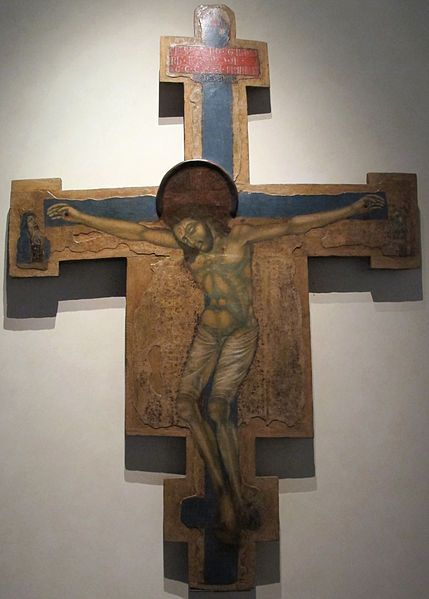 Paolo da Siena - Croce dipinta con dolenti e Dio benedicente - 1320 ca..- Museo nazionale di Villa Guinigi, Lucca (Italia)